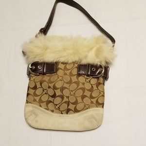 Coach handbag with faux fur accent